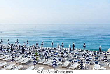 cote dAzur, France - Nice stone beach and turquiose calm...