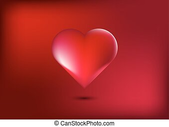 Heart in Red background