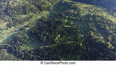 Aerial view. High above the forest valley between the hills...
