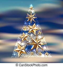 gold stars christmas tree to winter holiday greeting card,...