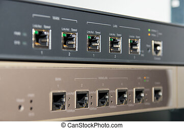 Telecommunications rack with router and firewall -...