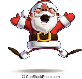 Happy Santa - Jumping in ecstasy with Open Hands - Vector...