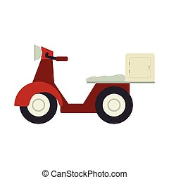 motorcycle scooter delivery pizza vector illustration design