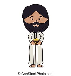 man manger character isolated icon vector illustration...