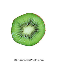Green kiwi on white