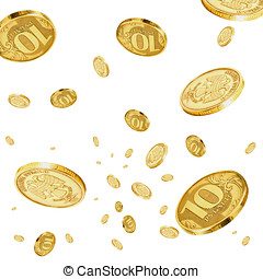 Rubles in the air. - Coins of 10 rubles to hover in the air.