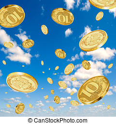 Rubles in the sky. - Coins of 10 rubles to hover in the sky.