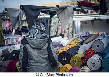 Woman shopping in the traditional market