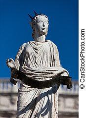 Ancient Statue of Fountain Madonna Verona on Piazza delle...