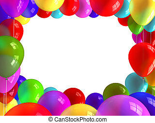 Holiday balloons frame - A lot of varicoloured brilliant...