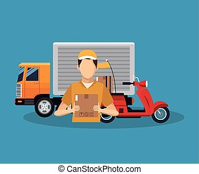 Box truck and man of delivery concept design - Box truck and...