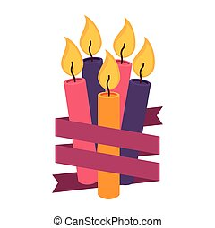 candles birthday with ribbon