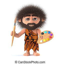 3d Savage caveman is also an artist - 3d render of a funny...