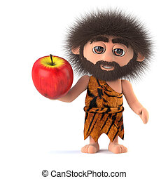 3d Savage caveman holding an apple - 3d render of a funny...
