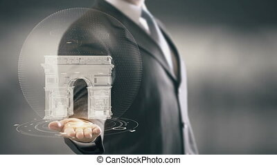 Arc de Triomphe France Businessman Holding in Hand Landmark New technologies