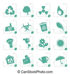 Stylized Simple Ecology and Recycling icons