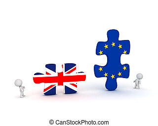 3D Characters and Large Puzzle Pieces with UK and EU Flags -...