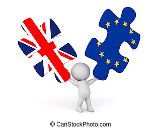 3D Character Holding Up Puzzle Pieces with UK and EU