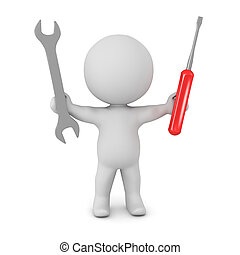 3D Character with Wrench and Screwdriver - A 3D character...