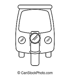 motor rickshaw transport tricycle outline vector...