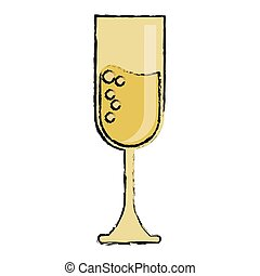 cartoon cup glass champagne love celebration vector...