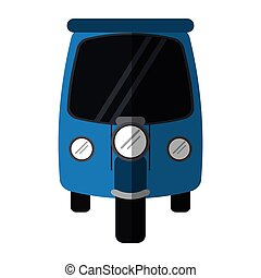 blue motor rickshaw transport tricycle vector illustration...