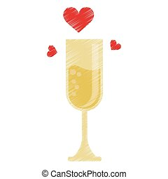 drawing cup glass champagne love celebration vector...
