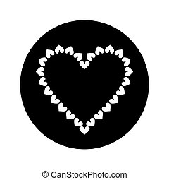 silhouette valentine day heart decorative - slhouette...
