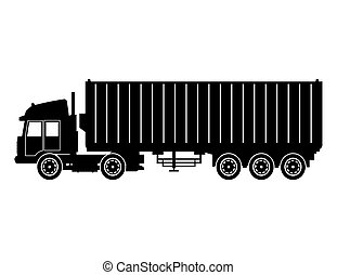 silhouette truck trailer container delivery cargo transport...
