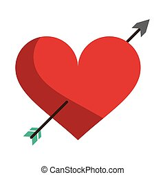 red heart with arrow love symbol vector illustration eps 10