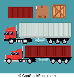 set truck trailer container delivery transport cardboard box...