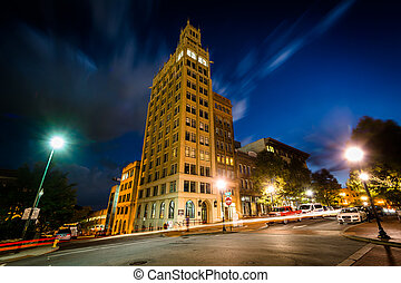 Buildings at Pack Square at night, in Asheville, North...