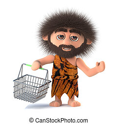3d Savage caveman goes shopping with his basket - 3d render...