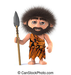 3d Savage caveman with spear - 3d render of a funny savage...