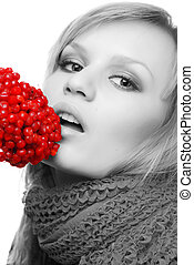 woman and berries - portrait of woman in scarf with red...