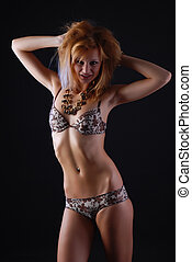 beautiful woman in lingerie - portrait of a young beautiful...