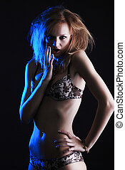 woman in lingerie - portrait of a young beautiful blond...