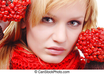 woman with berries - portrait of woman in scarf with red...
