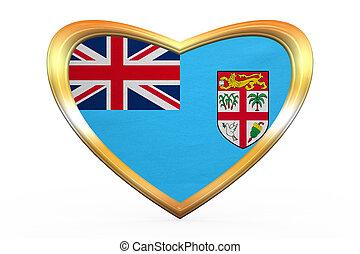 cuore, dorato, cornice, forma, bandiera, Figi
