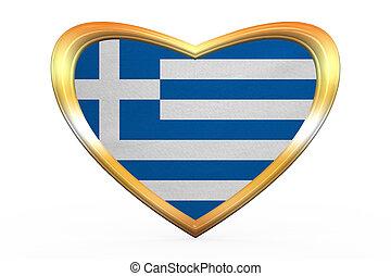 Flag of Greece in heart shape, golden frame