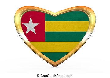 Flag of Togo in heart shape, golden frame - Togolese...