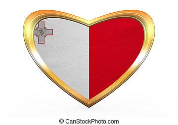 Flag of Malta in heart shape, golden frame