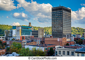 View of buildings in downtown Asheville, North Carolina.