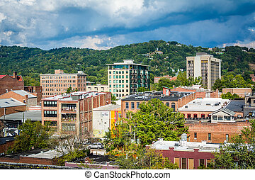 View of buildings in downtown and Town Mountain, in...