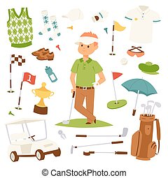 Golf player clothes and accessories vector illustration.
