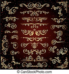 Victorian vector set of golden ornate page decor elements like banners, frames, dividers, ornaments and patterns on dark background. Gold calligraphic swirl