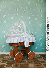Preschool room decorated with baby carriage. - Preschool...