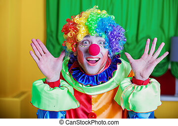 Clown with queer expression on his face. - Portrait of clown...