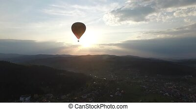 Aerial view. Balloon in the sunlight