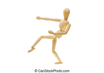 Artists mannequin in a fighting pose - Artists wooden model...
